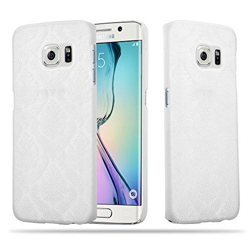 Cadorabo Custodia per Samsung Galaxy S6 Edge Hard Cover Mandala in Bianco – Rigida Protettiva Super Sottile con Bordo Protezione – Case Ultra Slim Bumper Fina Antiurto Guscio Plastica