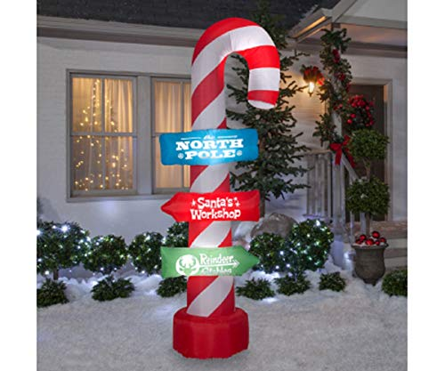 Gemmy Inflatable Christmas Decoration - Airblown Candy Cane Sign Pole, 8ft.H