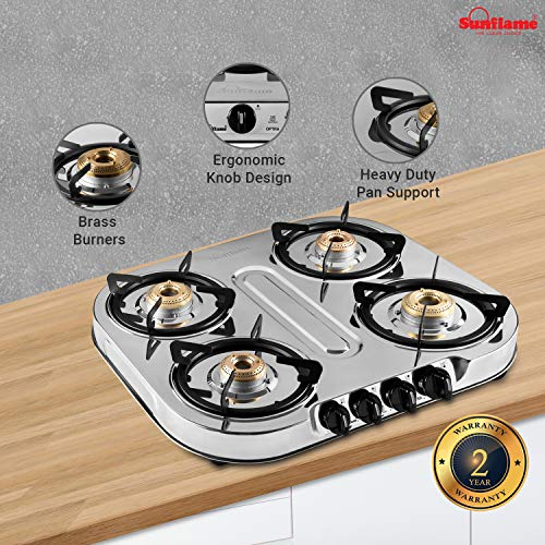 Sunflame OPTRA 4B Stainless Steel 4 Burner Gas Stove (Manual Ignition, Silver)