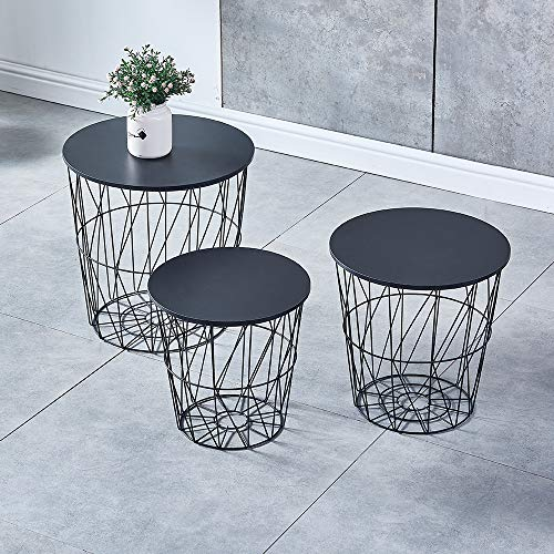 BELIFEGLORY Accent Nest of 3 Coffee Tables, Modern Design Round Stackable Nesting Tables with Removable Wooden Top and Metal Frame, Space Saving Sofa Side Corner Lamp End Table (Black)