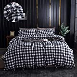 FADFAY Buffalo Girls Bedding Sets Twin 3 Pcs - Hotel Quality 100% Cotton Hypoallergenic 600 TC- Black and White Bedding Bowknot Plaid Geometric Comforter Cover Set -No Comforter