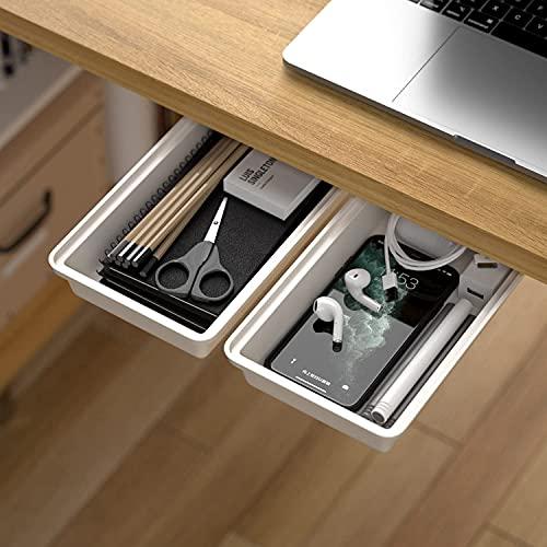 Organizador de almacenamiento oculto debajo de la mesa para escritorio, 2 unidades, autoadhesivo para debajo de la oficina, bandeja de escritorio para lápices, cajón para la cocina