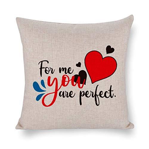 Yilooom Fundas de almohada cuadradas de lino de algodón de 30,5 x 30,5 cm, fundas de cojín, cama, sofá, sofá, coche, decoración del hogar, feliz día de San Valentín para mí, eres perfecto