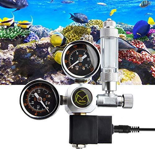 TWSOUL Druckminderer CO2 Variante Mehrweg mit fest verbauten Magnetventil und Rückschlagventil Nadelventil Aquarium Nachtabschaltung W21.8 Interface