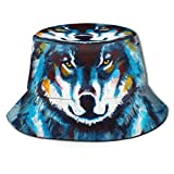 Out GuoAiYunShop - Sombrero unisex con diseño de lobo de pintura azul