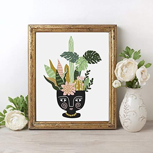 Geiqianjiumai Tropische Zimmerpflanzen und Blumen im Keramiktopf Poster Leinwand Moderne und stilvolle Tropische Dekoration rahmenlose Malerei 60x80cm