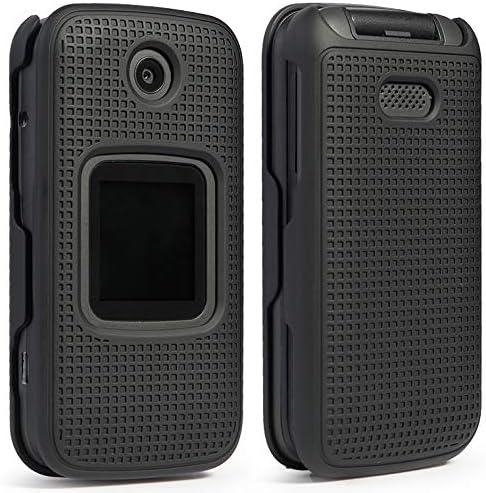 Case for Alcatel Smartflip/Go Flip 3, Nakedcellphone [Black] Protective Snap-On Cover [Grid Texture] for Alcatel Go Flip 3, Alcatel Smartflip Phone (2019) 4052R/4052C/4052W