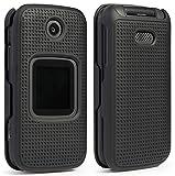 Alcatel Smartflip Case, Go Flip 3 Case, Nakedcellphone [Black] Protective Snap-On Cover [Grid Texture] for Alcatel Go Flip 3, Alcatel Smartflip Phone (2019) 4052R/4052C/4052W