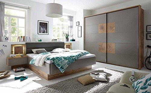 lifestyle4living Schlafzimmer, Schlafzimmermöbel, Set, Komplettset, Schlafzimmereinrichtung, 4-teilig, Wildeiche, grau, Hirnholz, Bettanlage, Schwebetürenschrank