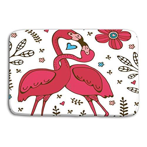LiminiAOS Felpudo Interior Al Aire Libre Me pones Caliente Flamingo Pareja Besándose Cartel romántico Ilustración Formato Vectorial Mat
