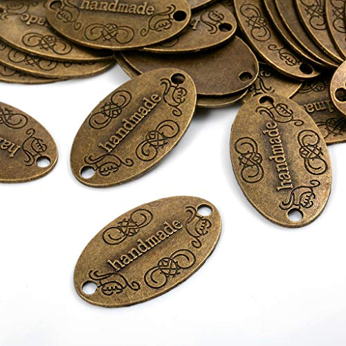100 Stück Handmade knöpfe Metall Label Hand Made Charm Anhänger für DIY Handwerk Schmuck Herstellung Findings Zubehör Handmade Kleidungszubehör Dekor DIY Buttons Handmade Labels
