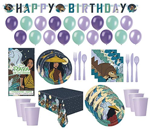 Disney Raya and The Last Dragon Birthday Party Supplies Pack Including Cake & Lunch Plates, Cutlery, Cups, Napkins, Banner, Balloons And Table Cover Serves 16 Guests