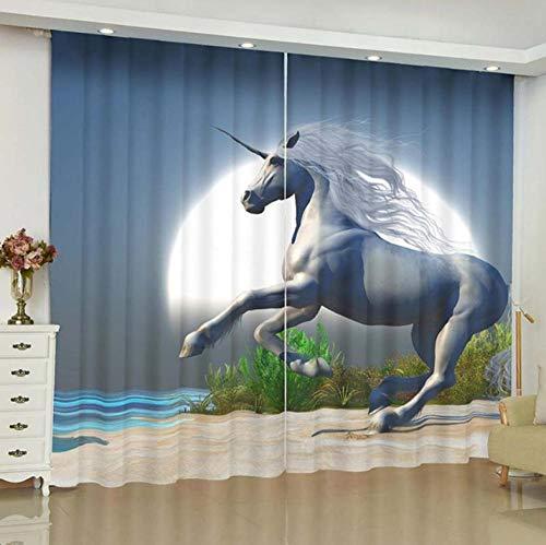HANTAODG Cortinas Opacas Unicornio Luna Grande Cortinas Opacas De Salón Dormitorio 2 Piezas - Cortinas Termicas Aislantes Frío Y Calor Cortina Anti Ruido Claro 220X215Cm