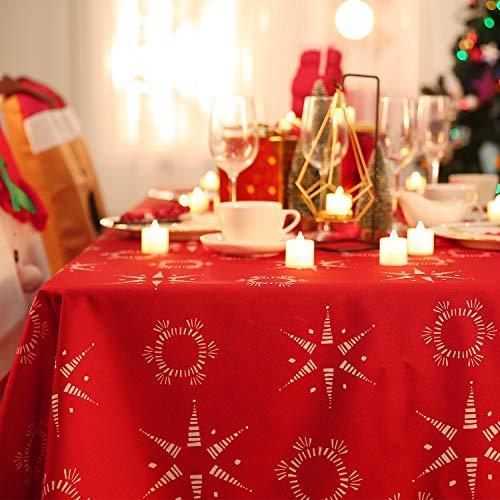 Deconovo Lotuseffekt Tischwäsche Weihnachten Wasserabweisend Tischdecke Tischtuch 140x200 cm Rot