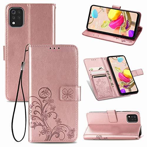 TOPOFU LG K42 Hülle Flip Lederhülle,Vierblättriges Kleeblatt Muster Magnetische PU Wallet Ledertasche mit Ständer Handyhülle für LG K42-Rosé Gold