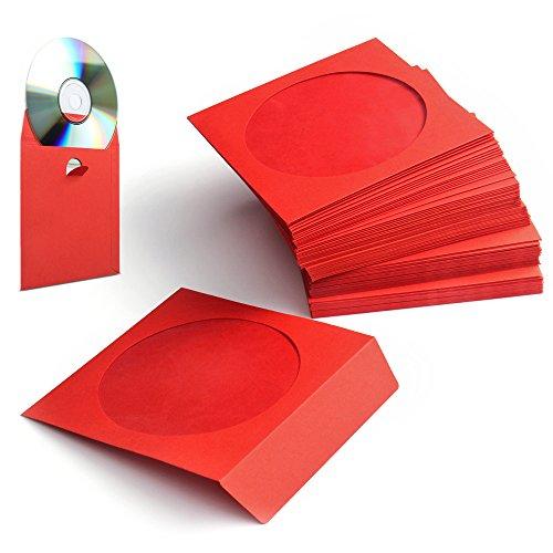 Flexzion 100 Pack CD DVD Dik Papier Mouwen Standaard Envelope Cases Display Storage Premium met Window Cut Out en Flap voor Muziek Film Video Game Disc Rood