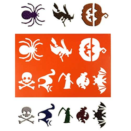 SUPVOX 2 peças de estênceis de pintura de Halloween A4 modelos de estênceis de desenho de bruxa abóbora e aranha para álbum de fotos DIY (laranja)