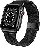 M MOUKOU Correas de Repuesto compatibles con Apple Watch de 42 mm, 44 mm, Correa de Repuesto Ajustable de Malla de Acero Inoxidable para iWatch Series SE/6/5/4/3/2/1