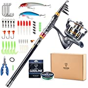 FISHINGSIR Spinning Fishing Rod and Reel Combo - Carbon Fiber Telescopic Fishing Rod with Reels Lines Lures Pliers
