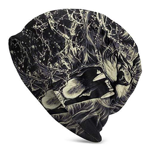 Sombreros de Punto para Adultos Unisex Rasta Lion Beanie Hat Gorro de Calavera con Estampado cálido de Invierno