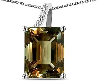 Solid 10K Gold Large10x8 Octagon Emerald Cut Journey Pendant Necklace