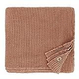 Linen & Cotton Plaid Decke Sommer Tagesdecke Waffelpique Enzo - 48% Leinen, 52% Baumwolle, Coral Rosa (210 x 250 cm) Blanket Überwurf Bett Doppelbett Überwurfdecke Bettüberwurf Bettbezug Bettwäsche