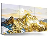 RAMEER Mountains Painting Gold Grey Wall Art Modern Abstract Landscape Nature Picture Artwork Giclee Print 3 Panel Gallery Canvas Wall Decor for Living Room Bedroom Bathroom Office Home Decorations