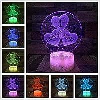 3DイリュージョンランプLEDナイトライトILove You Soft HeartUSBロマンチックな装飾的なカラフルなテーブルランプガールフレンドギフト子供用スリープランプ