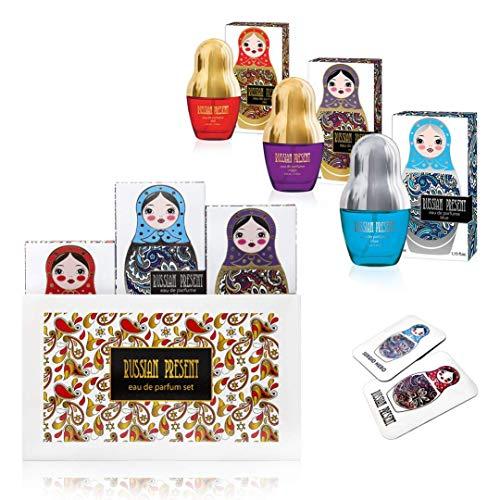RUSSIAN PRESENT Eau de Parfum per donne, 35 ml - idea regalo per lei (SET REGALO)