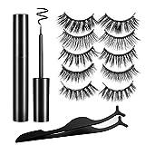 Magnetic Eyelashes Falses Lashes Kit Upgraded 3D Natural Look Magnet Eyeliner No Glue Needed Reusable Handmade Soft False Lashes(5 Pairs Style) Rendering Eye Decoration Makeup