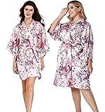 EPLAZA Women Floral Satin Robe Bridal Dressing Gown Wedding Bride Bridesmaid Kimono Sleepwear (Pink, Small-Medium)