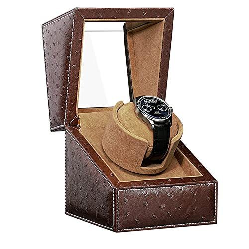 LLSS Watch Winder For 1 Watches Position Automatic Winding Box Plush Pillow Motor 5 Rotation Modes Wooden Leather Flannel