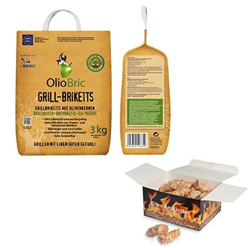 raumbox OlioBric 3kg Gourmet-Grill-Briketts | Oliventrester Grillkohle | nachhaltig | kein Rauch + 45 Ritz Bio Holzwolle Anzünder