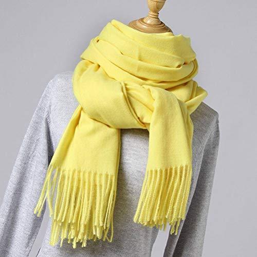 SLI-sjaal Effen kleur Imitatie kasjmier sjaal vrouwelijke doornen dikke warme sjaal mode kwast Winter Bib rode sjaal, markeerstift geel, 200 * 70cm