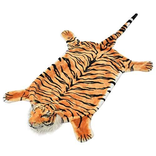 vidaXL Teppich Tigerfell 144cm Braun Plüsch Kunstfell Bettvorleger Dekoration