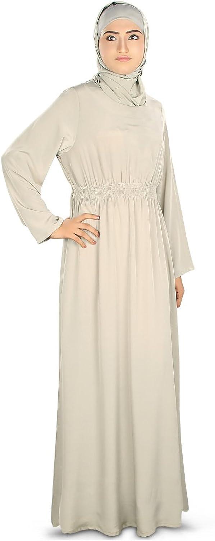 Mybatua Women's Beautiful Light Weight Plain Abaya in Warm Grey