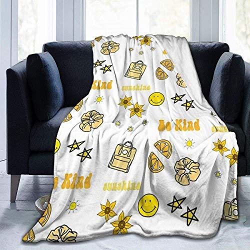 NOBRAND Manta De La Siesta Felpa Sofás Franela Paquete de Pegatinas Amarillas VSCO Girl Buen sueño L127cm x W102cm