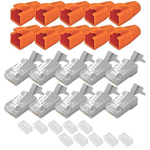 ARLI Cat7 Netzwerkstecker RJ45 Stecker 10 x Netzwerk Modular mit Zugentlastung Knickschutz Tülle Einführhilfe für Verlegekabel Cat 7 Cat6a Cat6 AWG23 8 polig Plug