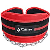 Athens Dipping Belt Body Building Weight Lifting Dips and Pull ups with Long 34 Inches Chain -Best Weight Belt with Chain- Ideal Pull Up Dip Belt - Chin Up Belt - Premier Dipping Belt for Men & Women