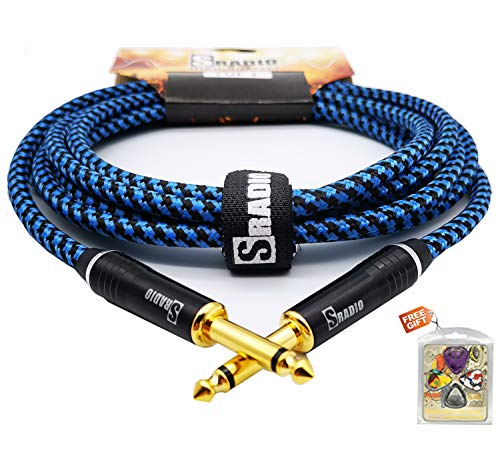 """20ft Blue 1//4/"""" inch TS Guitar Instrument Cable with One Right Angle Connector"""