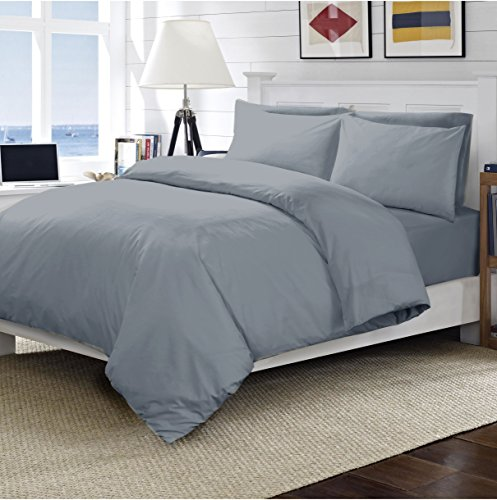 Linens World 200 Thread Count 100% Egyptian Cotton Duvet Quilt Cover Bedding Sets with Pillow cases (Grey, Double)