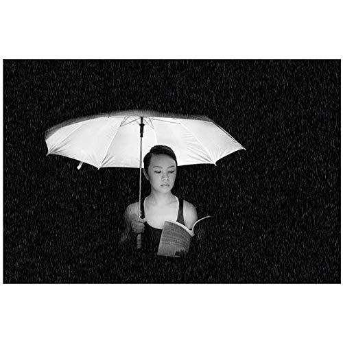 Vrouw met een paraplu grijswaarden fotowand kunst schilderij canvas schilderij muur foto's voor woonkamer landschap Decor Salon / 40x60cm geen frame