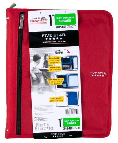 Five Star 1 Inch 3 Ring Binder, Customizable, Removable Fixture, Red (72979)