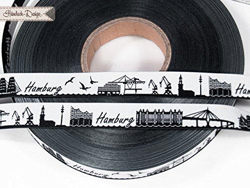 5m Webband Meine Heimat Skyline (Motiv: Hamburg_Neu, Farbe: schwarz-weiß) ca. 16mm breit