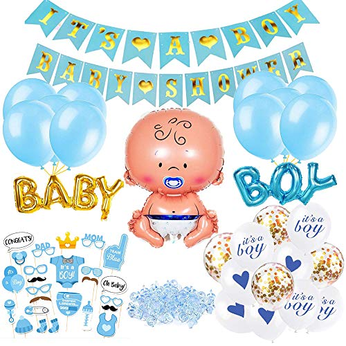 O-Kinee Babyparty Deko Junge Set, Baby Shower Junge Deko Blau, Babydusche Dekorations - It's a Boy Girlande, Neugeborene Folienballoon, Fotorequisiten Masken, Ballons Blau, Tischdeko Streudeko