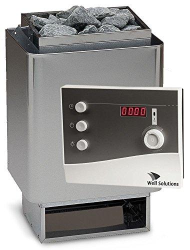 Well Solutions Saunaset 34A Sauna Ofen 9 kW aus Edelstahl – Made in Germany inkl. Steuerung K2 mit Zeitvorwahl, Saunasteine