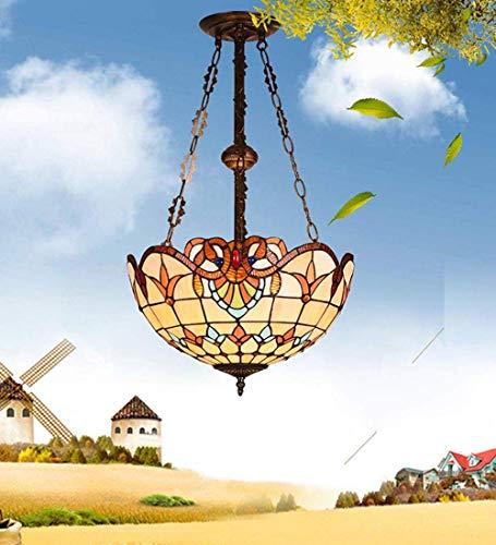 IGOSAIT Lámpara de techo, lámpara de techo, Tiffany colgante retro lámpara colgante redonda diseño sala de estar porche pastoral balcón rústico vidriera decoración lámpara E27*2 Ø40cm