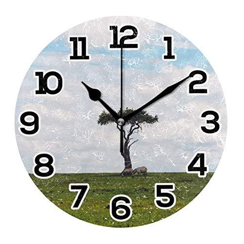 Reloj de pared con diseño de cebras aisladas, silencioso, funciona con pilas, retro, decoración del hogar, decoración de pared, para comedor, sala de estar, dormitorio, cocina (batería no incluida)