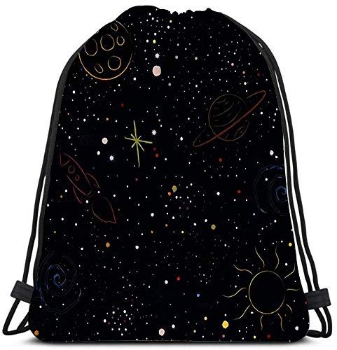 N / A Kordelzug Taschen Rucksack Kosmisch mit Sternen Planeten Mond Rakete Spiralgalaxien und Sternbilder in Farbe Reiserucksäcke Tragetasche Schulrucksack 36 x 43 cm / 14,2 x 16,9 Zoll