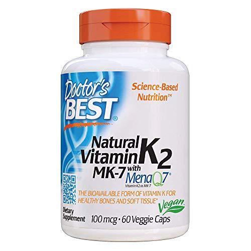 Doctor's Best Vitamina Natural K2 Mk7 Con Menaq7, 100Mcg - 60 Vcaps 60 Unidades 40 g